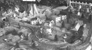 Our model train layout, 1963.