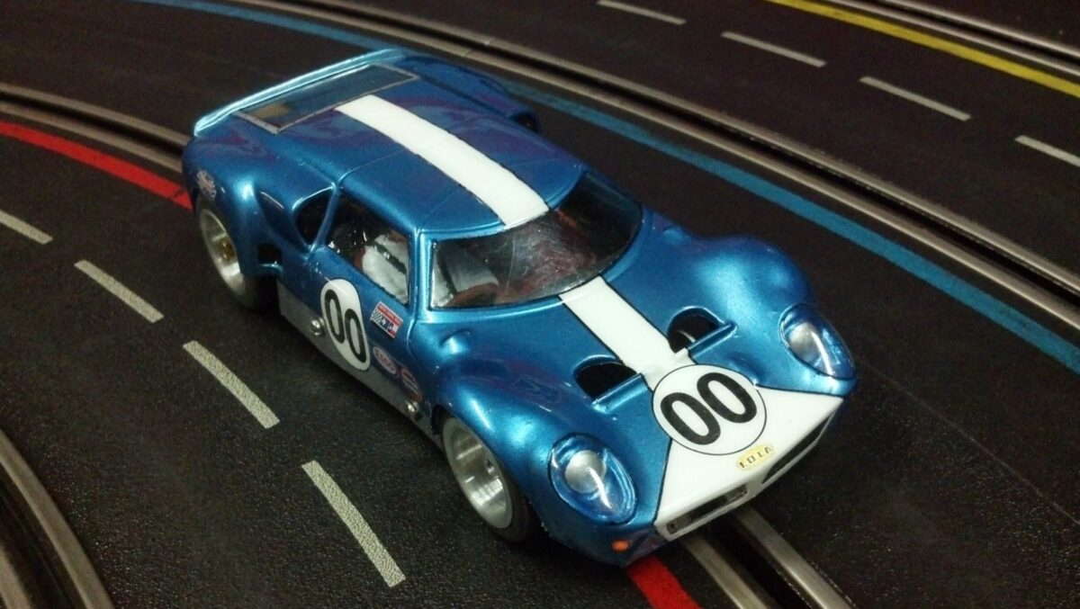 1965 Lola GT slot car looks much like the real car.