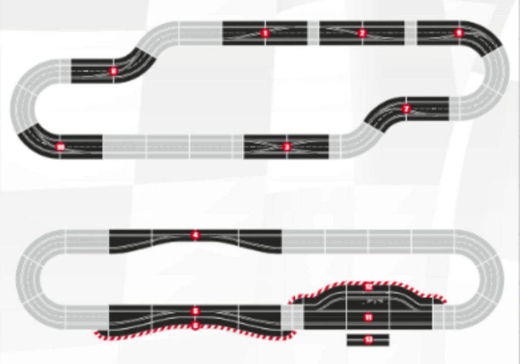 All the Carrera digital track parts available for slot car track design.