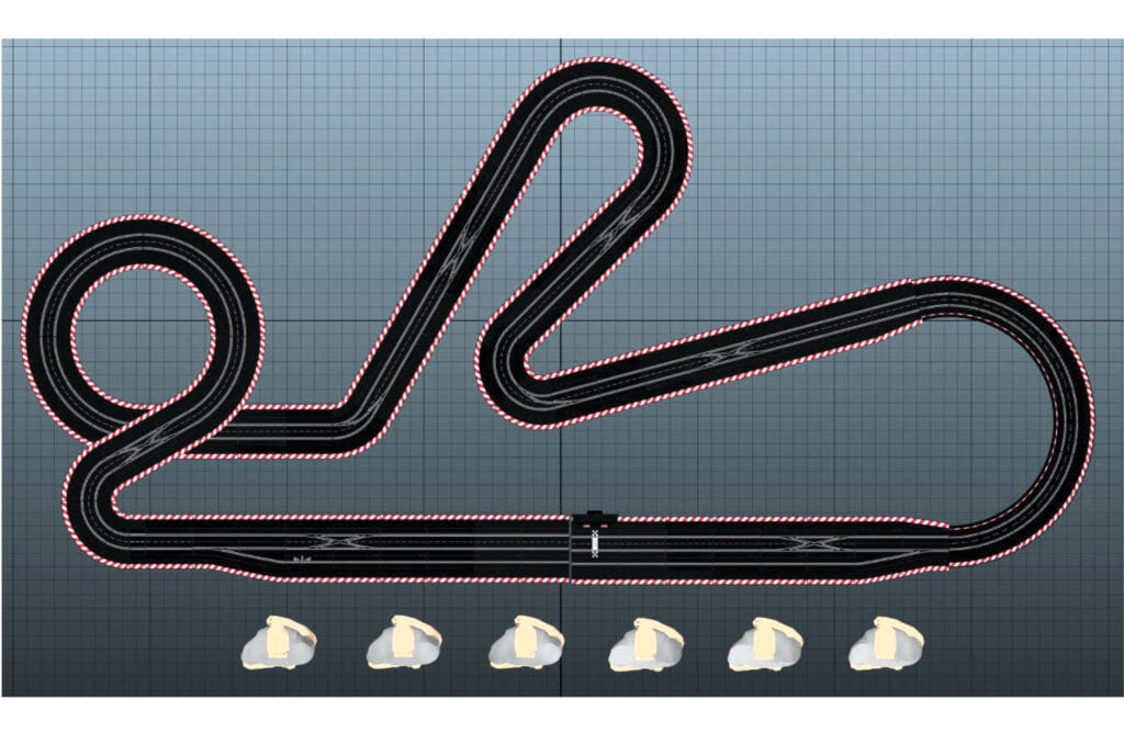 Custom slot car track design inspired byt the classic Blue King layout.